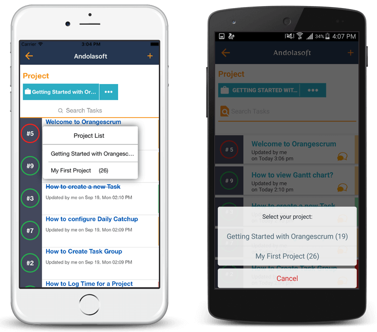 Orangescrum SaaS Mobile App Project Listing