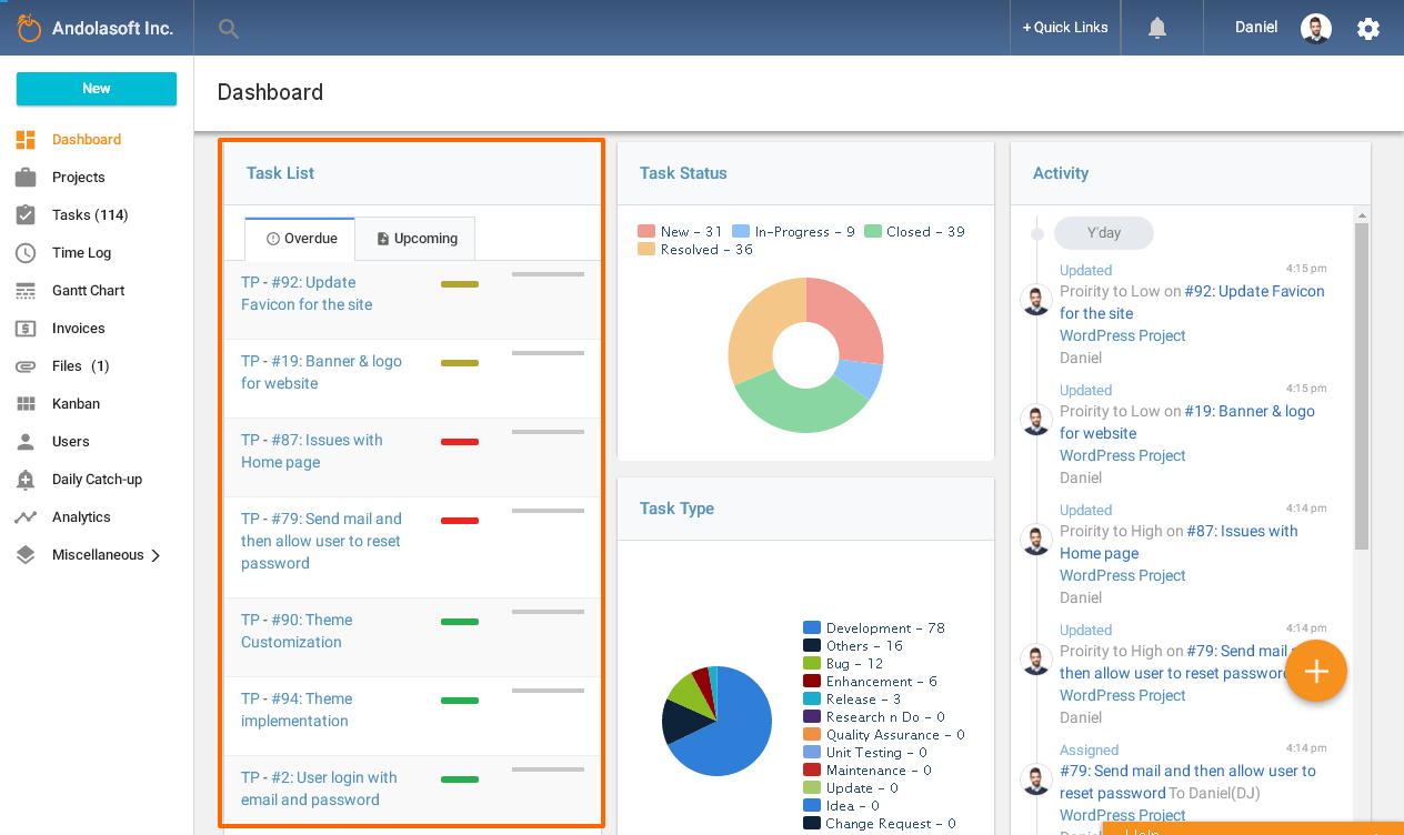 Task List in Dashboard