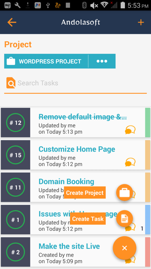 Task List Page of Orangescrum Android app