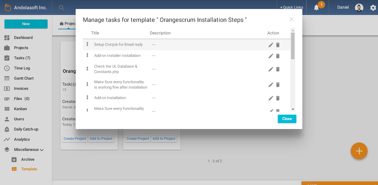Orangescrum Manage Project Templates