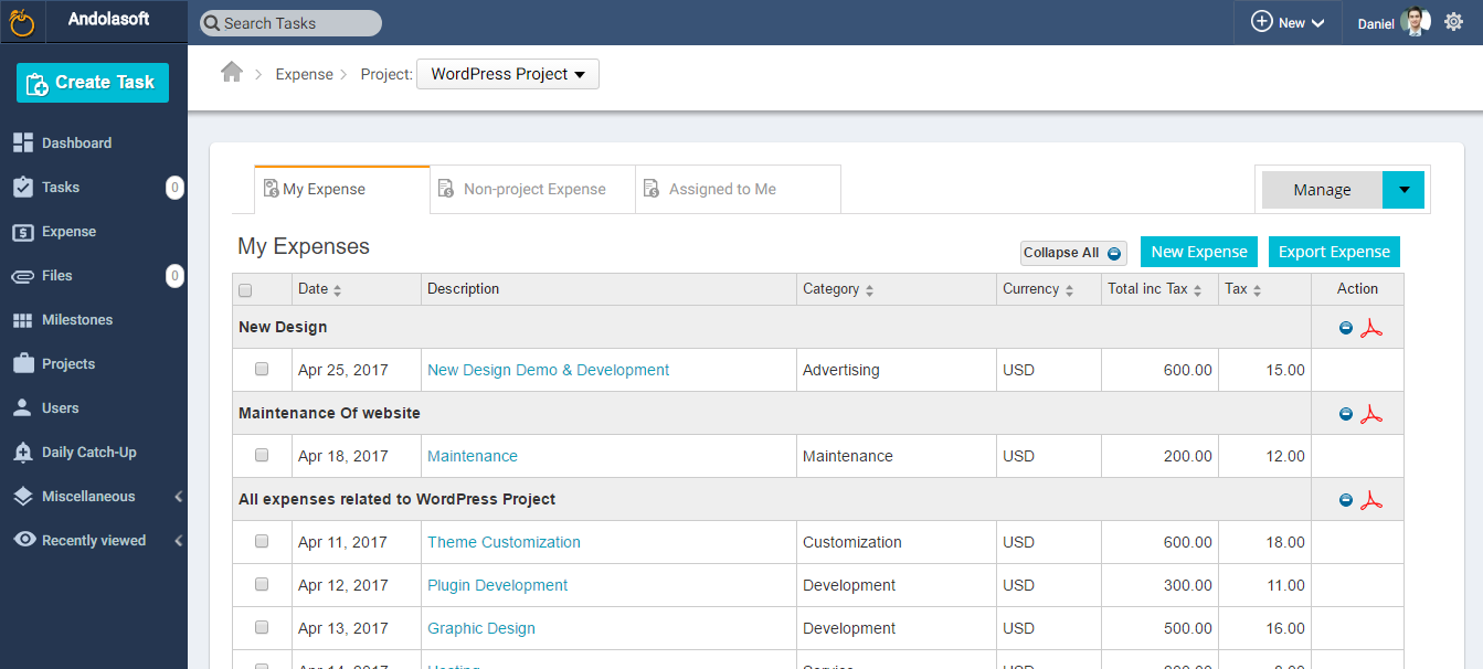 Orangescrum Expense Management Add-on