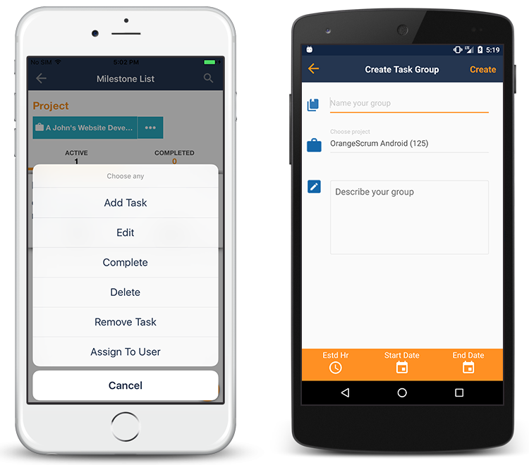 Orangescrum Mobile App Milestone Management