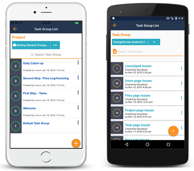 Orangescrum Mobile App Task Group List view