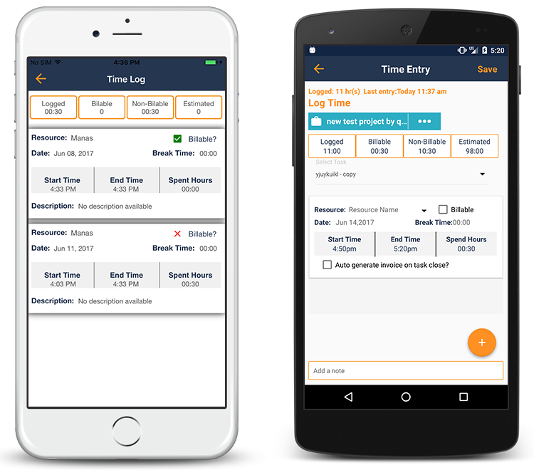 Orangescrum Mobile App Time Log List View