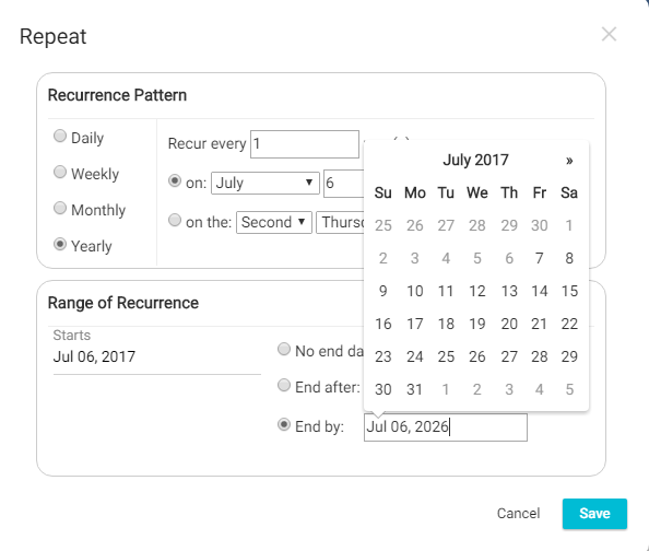 Recurring Task End Date