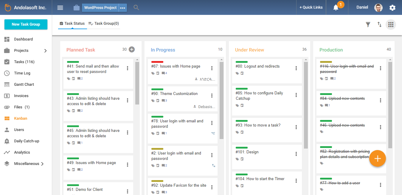 Kanban with Task Status Group