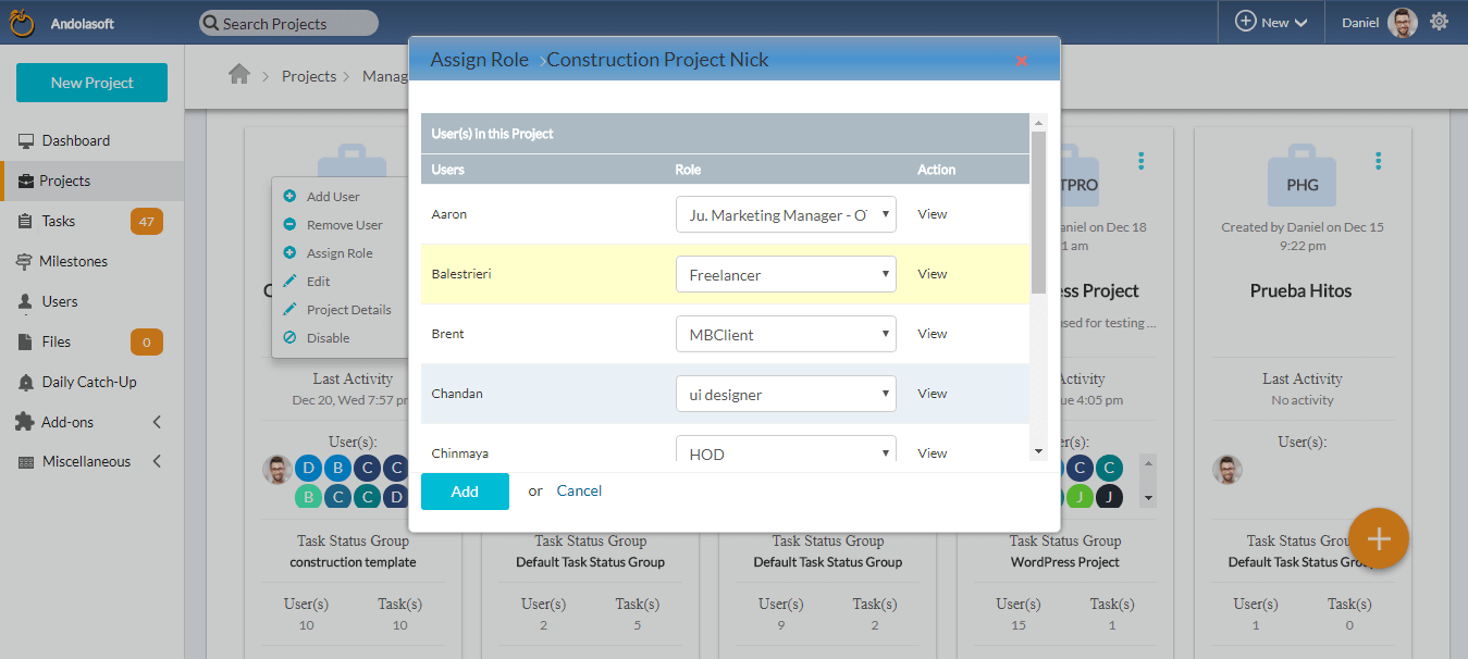 Assign Role Pop up in Project