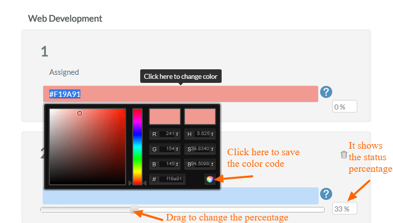 Color Code and task percentage
