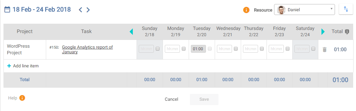 Task Update on Timesheet page