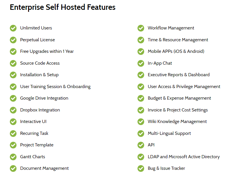 Enterprise Open Source Self Hosted features