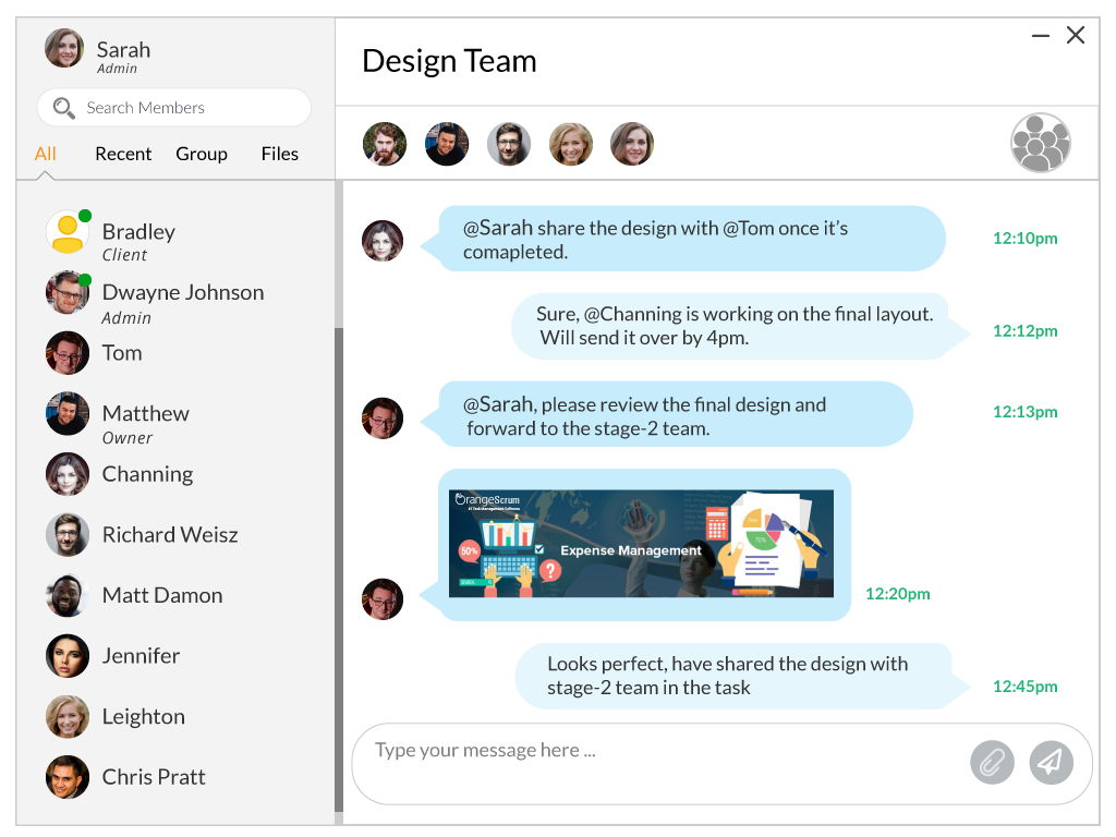 Orangescrum In App Chat with Group