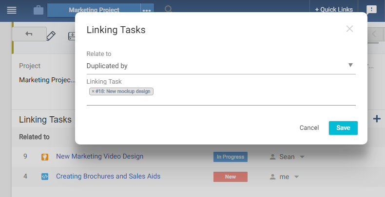 Add Linking Task Pop up