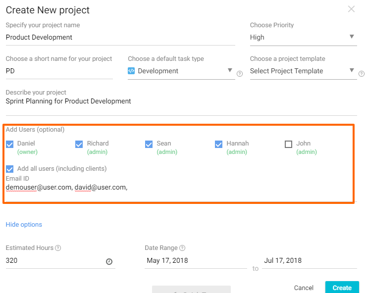 Add Team Members in a New Project