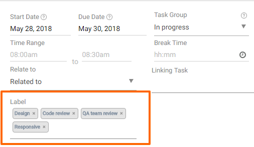 Add or create Task Labels in OrangeScrum