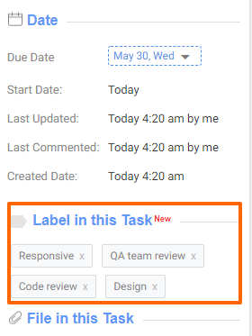 Labels View in the Task Details Page