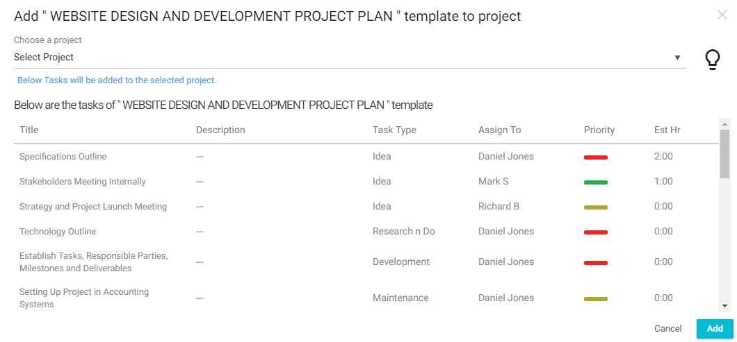 Add a Template to Projects
