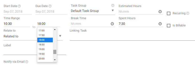 Create Task in 24 Hour Format