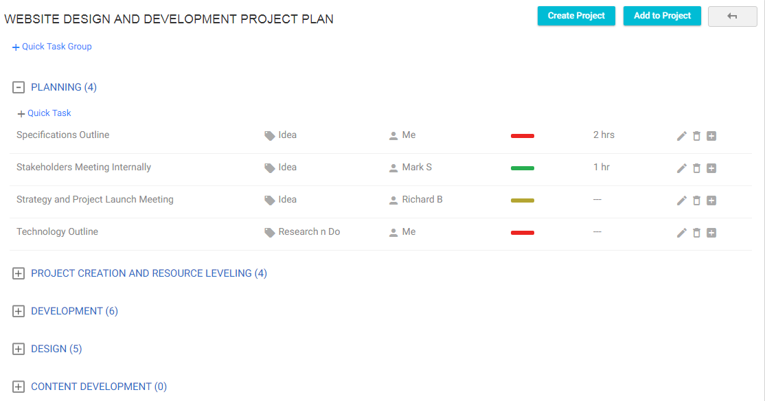 Task Groups in Project Template