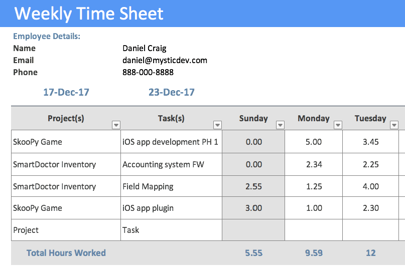 timesheet template project management timesheet template free